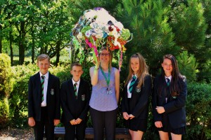 Year Eight pupils from Neston High School with Mrs Andrea Holden and the jellyfish artwork
